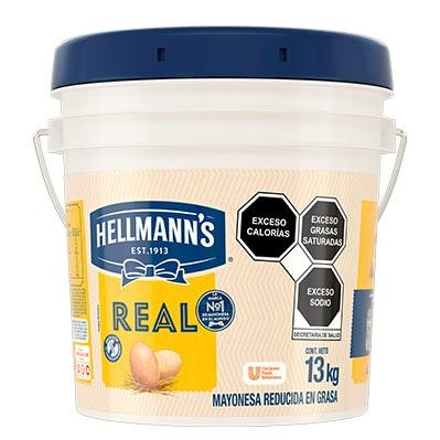 Hellmann's® Mayonesa Real 13 Kg - Hellmann's® Real es una mayonesa reducida en grasa que puede emplearse para distintas aplicaciones en frío y en caliente.