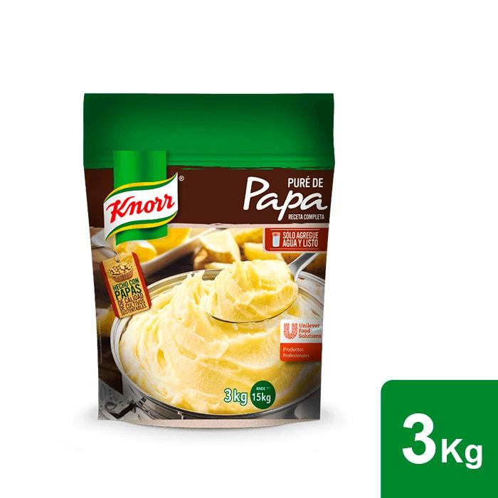 Knorr® Puré de Papa 3kg - Knorr Puré de papa 3kg, es una receta completa con un toque de sabor a mantequilla y leche; solo es necesario añadir agua