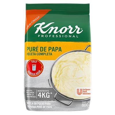 Knorr® Professional Puré de Papa Receta Completa 800gr - Knorr Puré de papa 800g, es una receta completa con un toque de sabor a mantequilla y leche; solo es necesario añadir agua